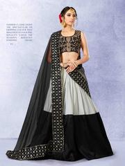 Black Colored Banglori Silk Heavy Embroidered Semi Stitched Lehenga Choli