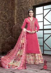 Pink Colored Glass Cotton Embroidered Semi-Stitched Salwar Suit