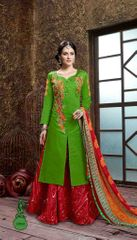 Green Colored Glass Cotton Embroidered Semi-Stitched Salwar Suit