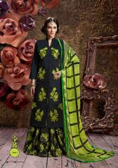 Black Colored Glass Cotton Embroidered Semi-Stitched Salwar Suit