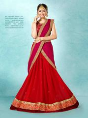 Maroon Colored Banglori Silk Heavy Embroidered with jari Work Semi Stitched Lehenga Choli