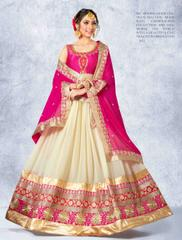 Pink Colored Banglori Silk Heavy Embroidered with jari Work Semi Stitched Lehenga Choli