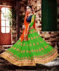 Green Colored Georgette Heavy Embroidered Semi Stitched Lehenga Choli