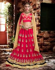 Peach Colored Georgette Heavy Embroidered Semi Stitched Lehenga Choli