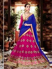 Pink Colored Georgette Heavy Embroidered Semi Stitched Lehenga Choli