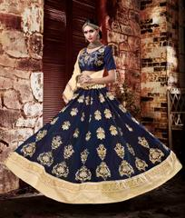 Blue Colored Georgette Heavy Embroidered Semi Stitched Lehenga Choli