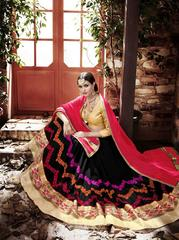 Black Colored Georgette Heavy Embroidered Semi Stitched Lehenga Choli