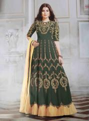 Grey Colored Georgette And Net Embroidered Semi-Stitched Salwar Suit.