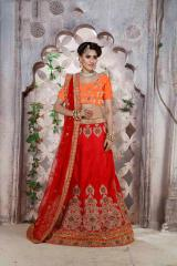 Red Colored Banglori silk Heavy Embroidered Semi Stitched Lehenga Choli
