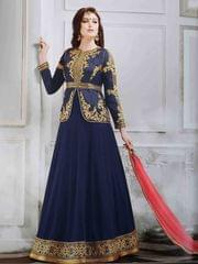 Blue Colored Georgette And Banglori Silk Jacket Embroidered Semi-Stitched Salwar Suit.