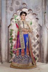 Blue Colored Net Heavy Embroidered Semi Stitched Lehenga Choli