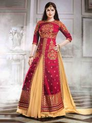 Red Colored Banglori Silk Embroidered Semi-Stitched Salwar Suit.