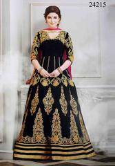 Black Colored Georgette Embroidered Semi-Stitched Salwar Suit.