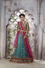 Sky Blue Colored Net Heavy Embroidered Semi Stitched Lehenga Choli
