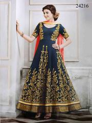 Blue Colored Georgette Embroidered Semi-Stitched Salwar Suit.