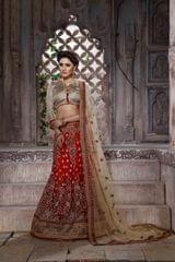 Red Colored Net Heavy Embroidered Semi Stitched Lehenga Choli