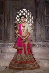 Cream & Pink Colored Net Heavy Embroidered Semi Stitched Lehenga Choli