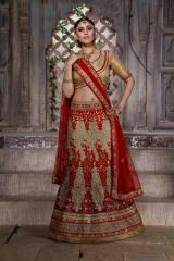 Cream & Red Colored Net Heavy Embroidered Semi Stitched Lehenga Choli