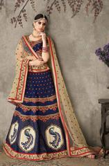 Navy Blue Colored Pure Silk Heavy Embroidered Semi Stitched Lehenga Choli