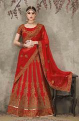Mroon Colored Pure Silk Heavy Embroidered Semi Stitched Lehenga Choli