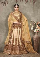 Cream Colored Pure Silk Heavy Embroidered Semi Stitched Lehenga Choli
