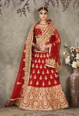 Maroon Colored Pure Silk Heavy Embroidered Semi Stitched Lehenga Choli