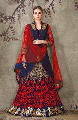 Navy Blue Colored Silk Georgette Heavy Embroidered Semi Stitched Lehenga Choli