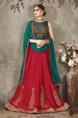 Tamato Colored Pure Silk Heavy Embroidered Semi Stitched Lehenga Choli