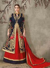 Red Colored Pure Silk Heavy Embroidered Semi Stitched Lehenga Choli
