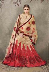 Cream Colored Soft Net Heavy Embroidered Semi Stitched Lehenga Choli