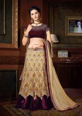 Beige Colored Premium Net Heavy Embroidered Semi Stitched Lehenga Choli