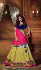 Grey , Multi Colored Georgette Heavy Embroidered Semi Stitched Lehenga Choli