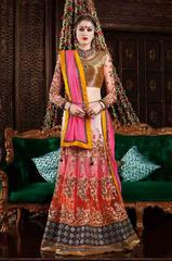 Pink Colored Premium Net  Heavy Embroidered Semi Stitched Lehenga Choli
