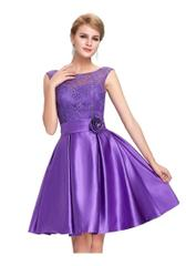 Purple Color Satin Full Sticched Western Dress