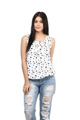White color Stichhed American Crepe Top