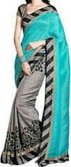Blue Color Printed Bhagalpuri Saree