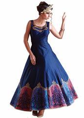 Multi color Digital Printed Benglori Silk Goun