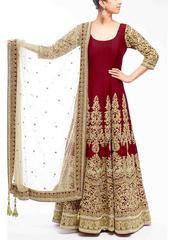 Maroon Color Embroidered Designer Salwar Suits