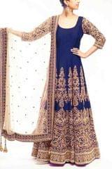 Navy Blue Color Embroidered Designer Salwar Suits