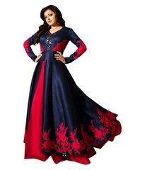Red And Navy Blue Color Embroidered Salwar Suits