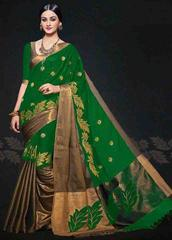 Green Color Embroidered Designer Cotton Silk Saree