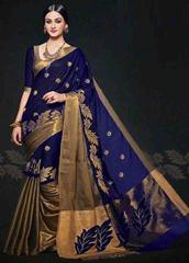 Blue Color Embroidered Designer Cotton Silk Saree
