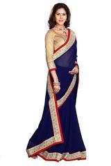 Blue Color Border Work Designer Saree