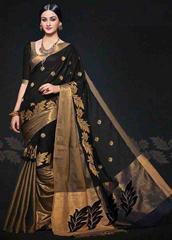 Black Color Embroidered Designer Cotton Silk Saree