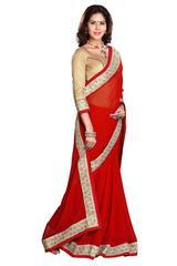 Red Color Border Work Designer Saree