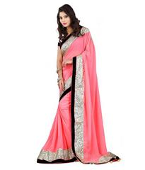 Pink Color Border Work Designer Saree