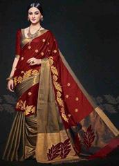 Red Color Embroidered Designer Cotton Silk Saree
