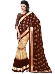 Brown Color Bhagalpuri Silk With Foil Printed Saree