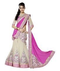 Pink Color Embroidered Georgette And Net Designer Lehenga Choli