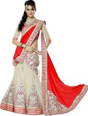 Red Color Embroidered Georgette And Net Designer Lehenga Choli
